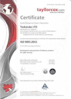 Teskalabs ISO certificate
